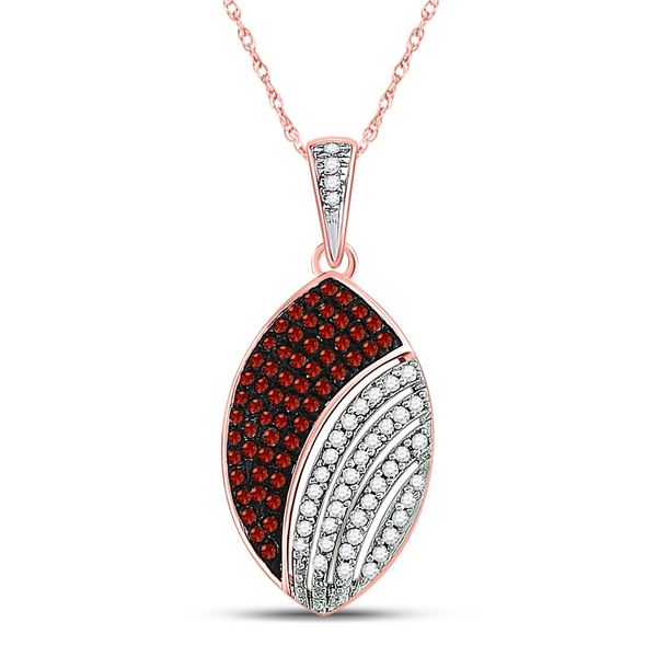 Round Red Color Enhanced Diamond Oval Pendant 1/3 Cttw 10KT Rose Gold