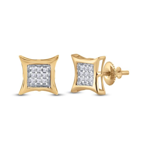 Round Diamond Kite Square Earrings 1/8 Cttw 10KT Yellow Gold
