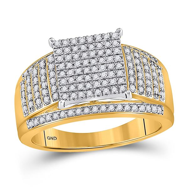 Round Diamond Elevated Square Cluster Ring 1/2 Cttw 10KT Yellow Gold