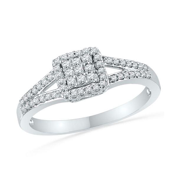 Round Diamond Square Cluster Split-shank Ring 1/4 Cttw 10KT White Gold