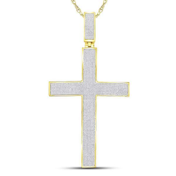 Round Diamond Roman Cross Charm Pendant 2-1/5 Cttw 10KT Yellow Gold