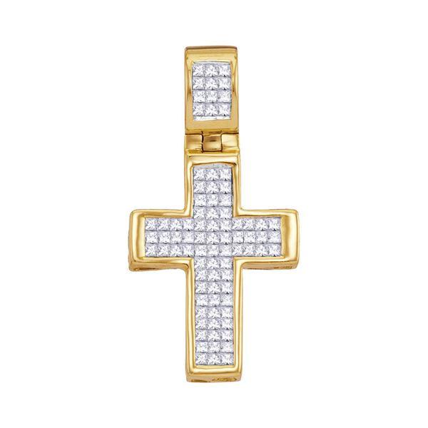 Princess Diamond Roman Cross Religious Pendant 5/8 Cttw 10KT Yellow Gold