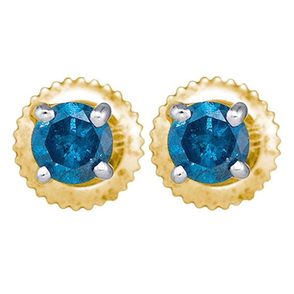 Round Blue Color Enhanced Diamond Solitaire Stud Earrings 1/4 Cttw 10KT Yellow Gold