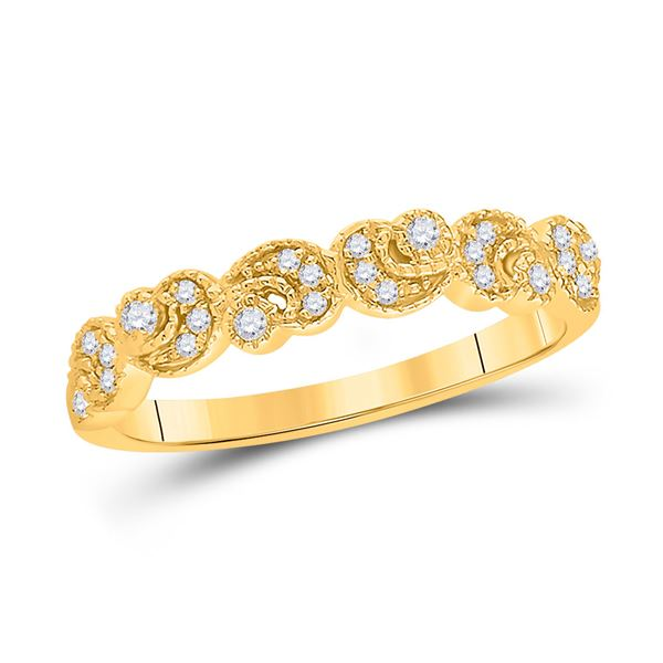 Round Diamond Crescent Stackable Band Ring 1/10 Cttw 14KT Yellow Gold