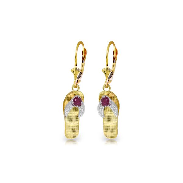 Genuine 0.30 CTW Ruby Earrings 14KT Yellow Gold - REF-58N5R