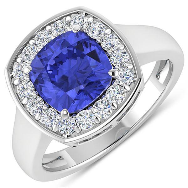 Natural 2.58 CTW Tanzanite & Diamond Ring 14K White Gold - REF-98R7F
