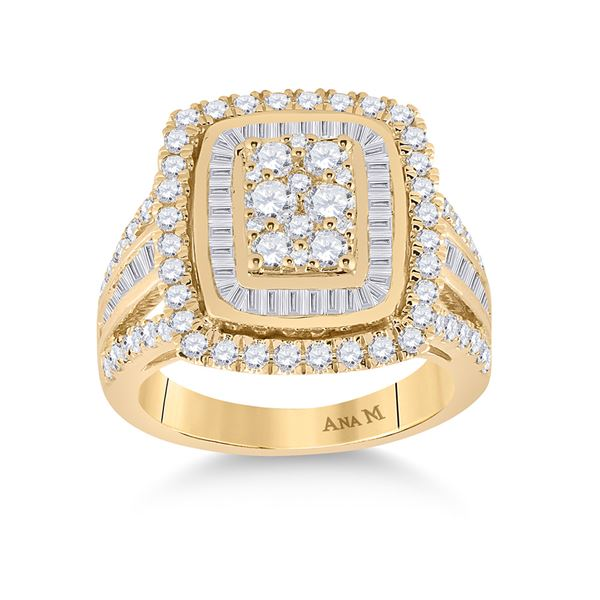 Round Diamond Cluster Ring 1-7/8 Cttw 14KT Yellow Gold