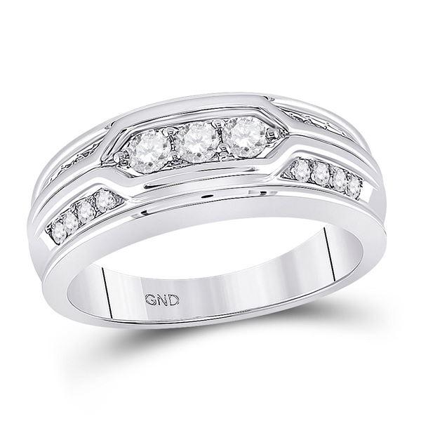 Round Diamond 3-stone Wedding Band Ring 1/2 Cttw 14KT White Gold