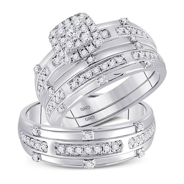 Diamond Halo Matching Wedding Set 3/4 Cttw 14KT White Gold