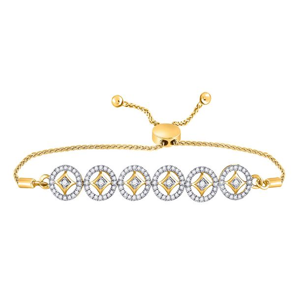 Round Diamond Joined Circles Bolo Bracelet 1/3 Cttw 10KT Yellow Gold