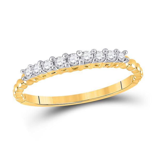 Round Diamond Single Row Band Ring 1/4 Cttw 10KT Yellow Gold