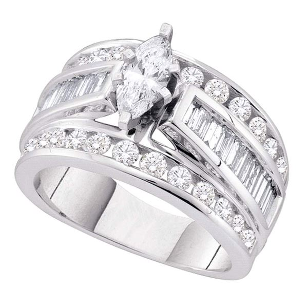 Solitaire Bridal Wedding Engagement Ring 1 Cttw 14KT White Gold