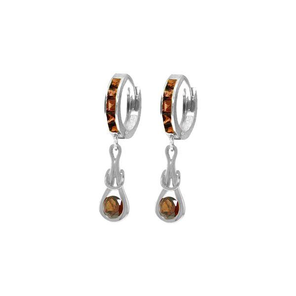 Genuine 2.6 ctw Garnet Earrings 14KT White Gold - REF-75W2Y