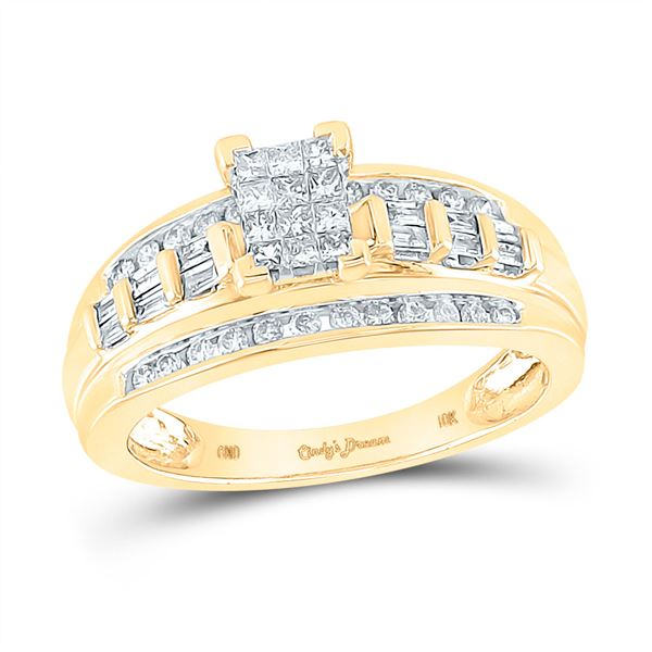 Cluster Bridal Wedding Engagement Ring 1/2 Cttw 14KT Yellow Gold