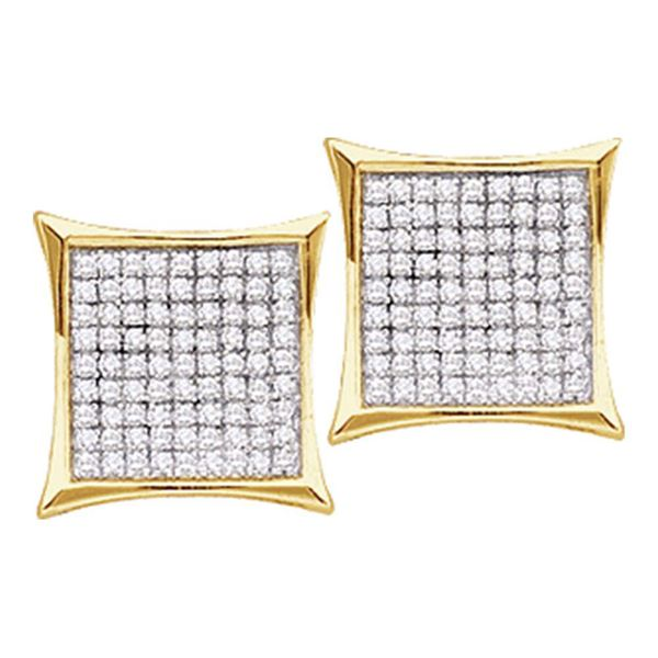 Round Diamond Square Cluster Earrings 1/6 Cttw 14KT Yellow Gold
