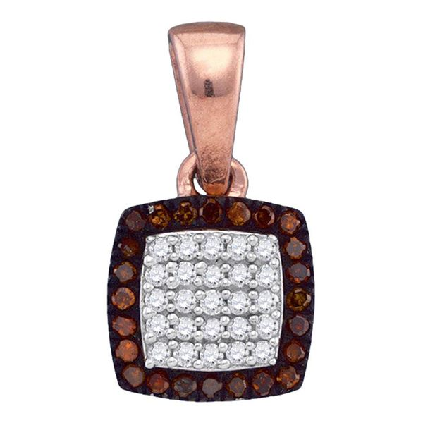 Round Red Color Enhanced Diamond Square Cluster Pendant 1/8 Cttw 10KT Rose Gold