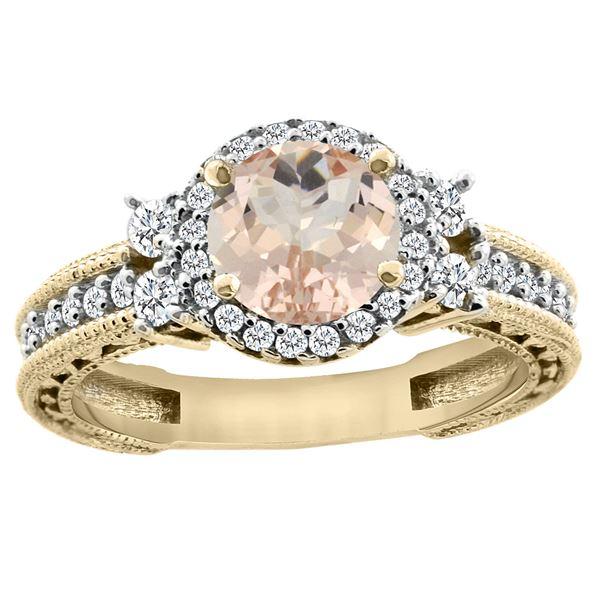 1.46 CTW Morganite & Diamond Ring 14K Yellow Gold - REF-83V2R