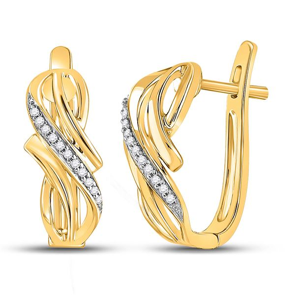 Round Diamond Bypass Crossover Hoop Earrings 1/12 Cttw 10KT Yellow Gold