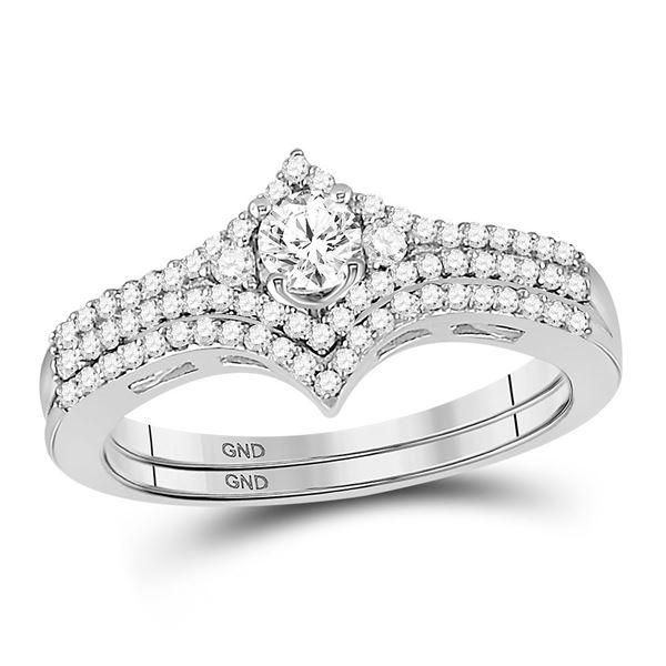 Diamond Chevron Bridal Wedding Ring Band Set 1/2 Cttw 14KT White Gold