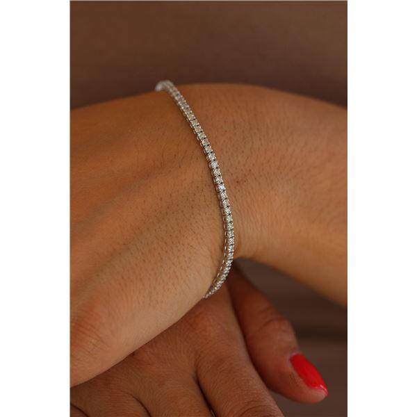 Natural 2.0 ctw Diamond Eternity Tennis Bracelet 18K White Gold - REF-159R2K
