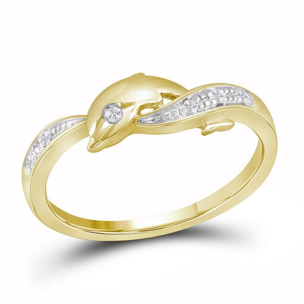 Round Diamond Two-tone Dolphin Fish Animal Ring 1/20 Cttw 10KT Yellow Gold