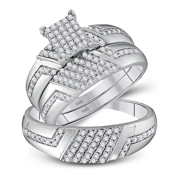 Diamond Cluster Matching Wedding Set 3/4 Cttw 10KT White Gold