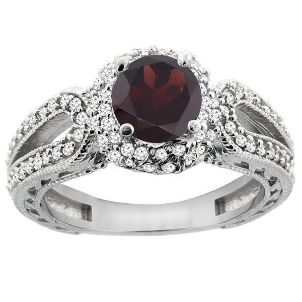 1.51 CTW Garnet & Diamond Ring 14K White Gold - REF-87M2A