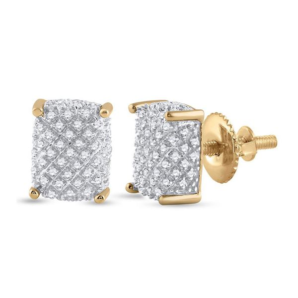 Round Diamond Cluster Earrings 1/3 Cttw 10KT Yellow Gold