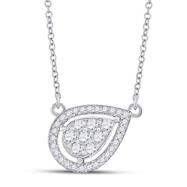 Round Diamond Teardrop Necklace 1/4 Cttw 10KT White Gold