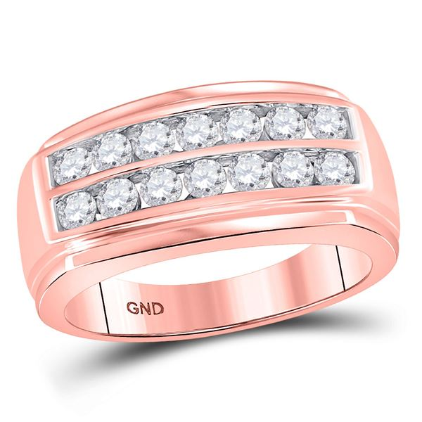 Round Diamond Wedding Double Row Band Ring 1 Cttw 14KT Rose Gold