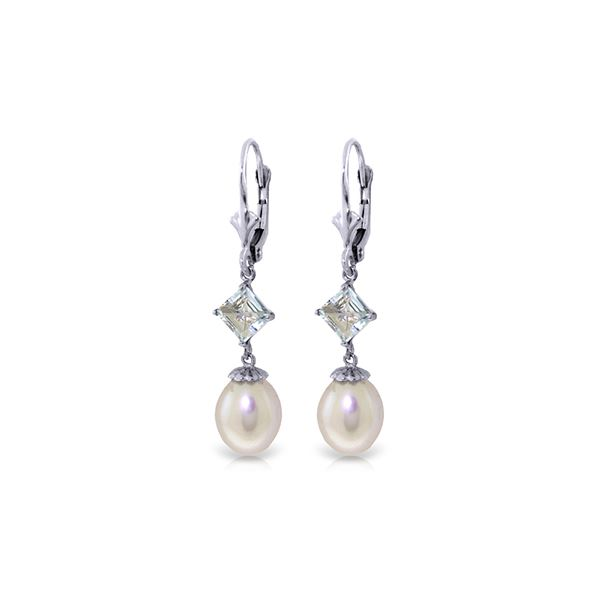 Genuine 9.5 ctw Pearl & Aquamarine Earrings 14KT White Gold - REF-27Y4F