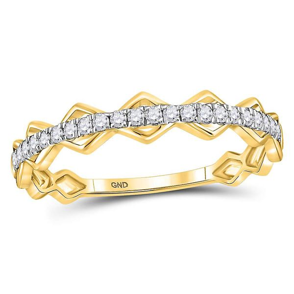 Round Diamond Link Stackable Band Ring 1/5 Cttw 10KT Yellow Gold