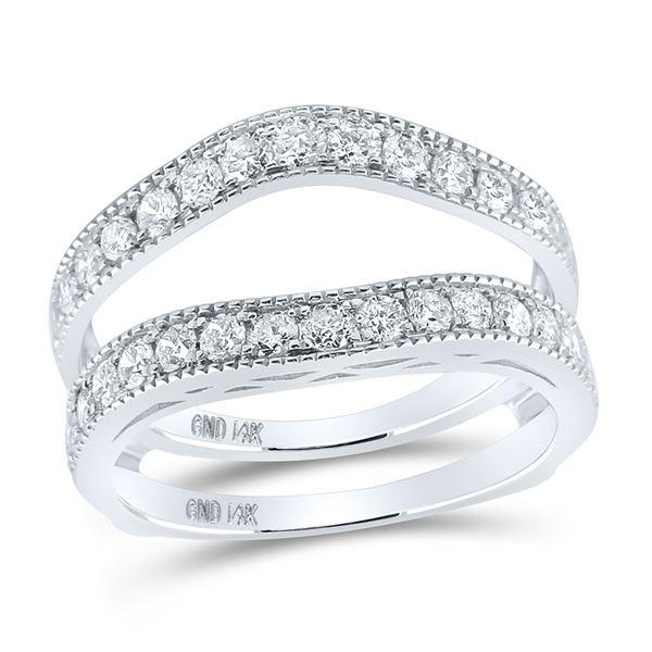 Round Diamond Milgrain Wrap Ring Guard Enhancer 1 Cttw 14KT White Gold