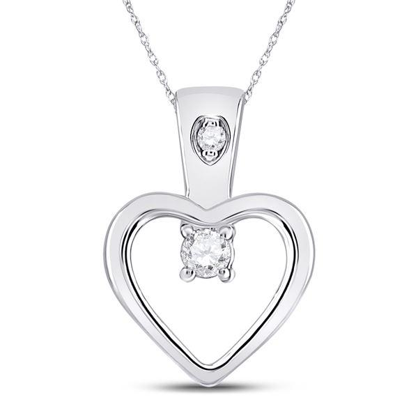 Round Diamond Small Heart Pendant 1/20 Cttw 10KT White Gold