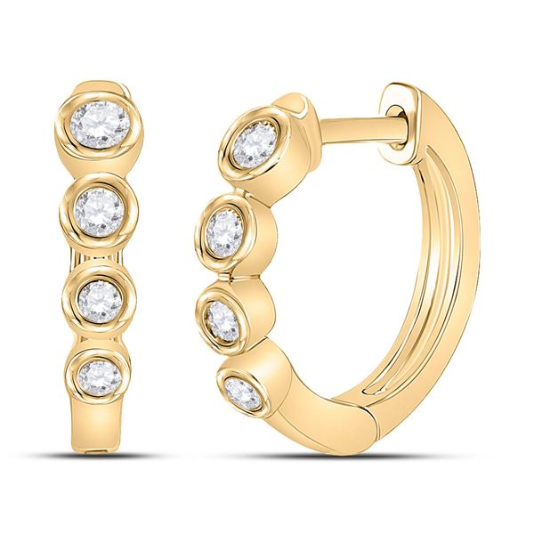 Round Diamond Fashion Hoop Earrings 1/4 Cttw 14KT Yellow Gold