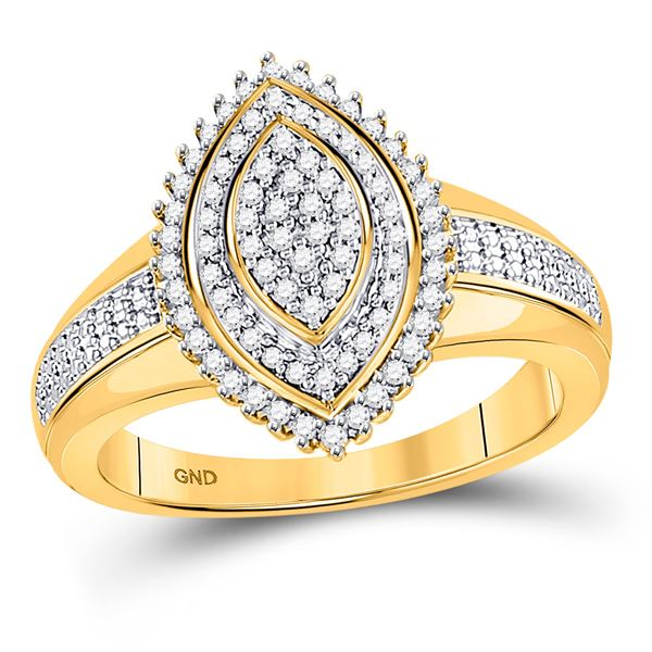 Round Diamond Marquise-shape Cluster Ring 1/4 Cttw 10KT Yellow Gold