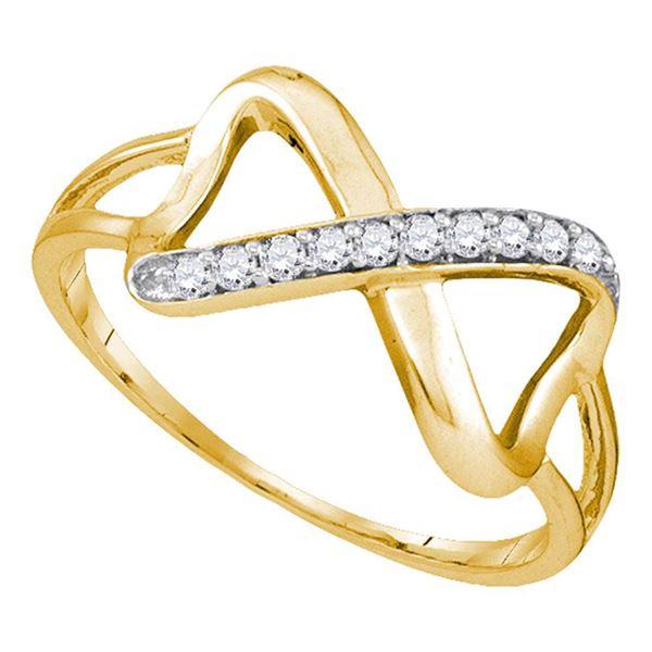 Round Diamond Infinity Ring 1/10 Cttw 10KT Yellow Gold