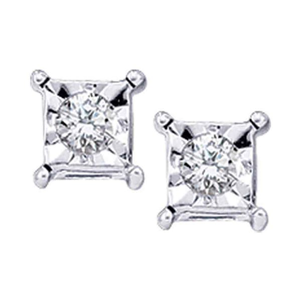 Round Diamond Solitaire Earrings 1/20 Cttw 10KT White Gold