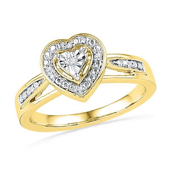 Round Diamond Heart Ring .03 Cttw 10KT Yellow Gold