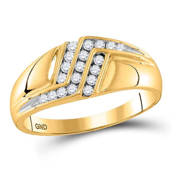 Round Diamond Triple Row Polished Band Ring 1/4 Cttw 10KT Yellow Gold