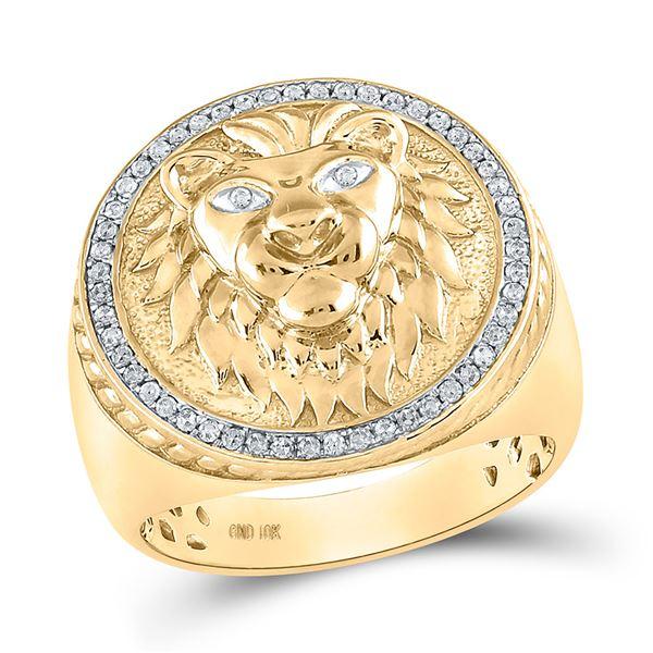 Round Diamond Lion Head Mane Ring 1/3 Cttw 10KT Yellow Gold