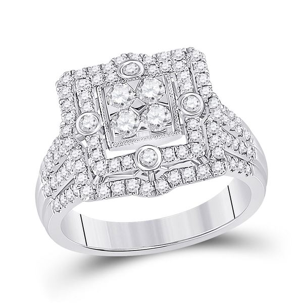 Round Diamond Square Halo Cluster Ring 1 Cttw 14KT White Gold
