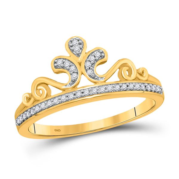 Round Diamond Crown Tiara Band Ring 1/10 Cttw 10KT Yellow Gold
