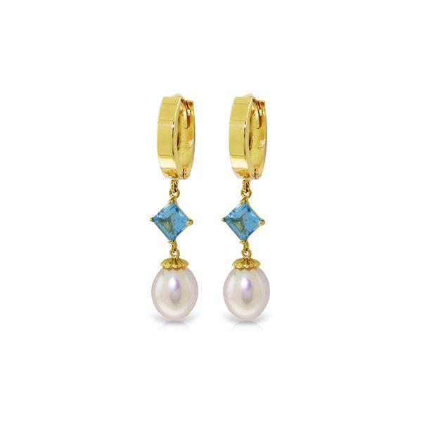 Genuine 9.5 ctw Blue Topaz Earrings 14KT Yellow Gold - REF-53V2W