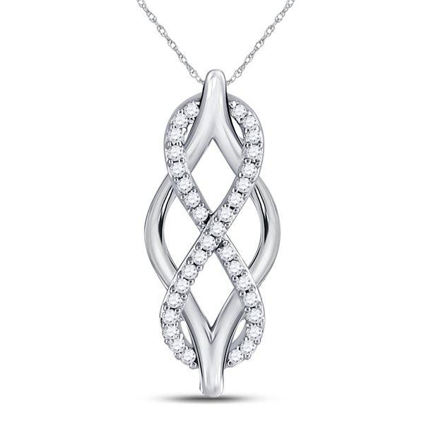Round Diamond Vertical Infinity Pendant 1/12 Cttw 10KT White Gold