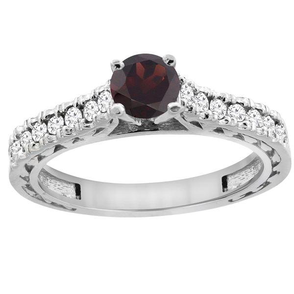 0.90 CTW Garnet & Diamond Ring 14K White Gold - REF-62Y5V