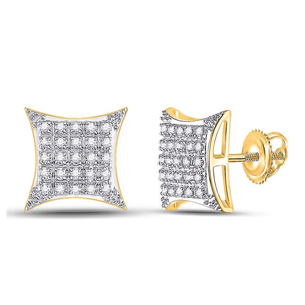 Round Diamond Square Kite Stud Earrings 1/6 Cttw 10KT Yellow Gold