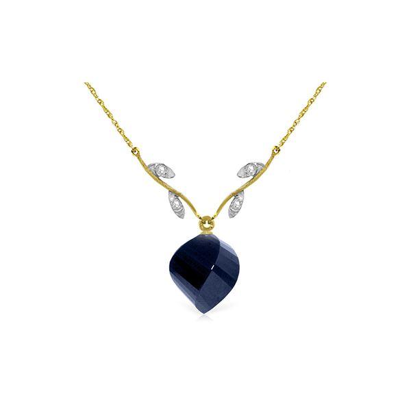 Genuine 15.27 ctw Sapphire & Diamond Necklace 14KT Yellow Gold - REF-46A7K