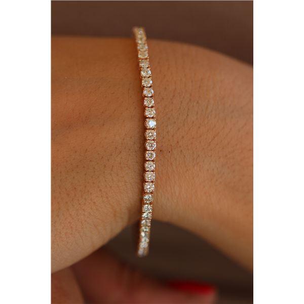 Natural 5.07 ctw Diamond Eternity Tennis Bracelet 18K Rose Gold - REF-401W3H