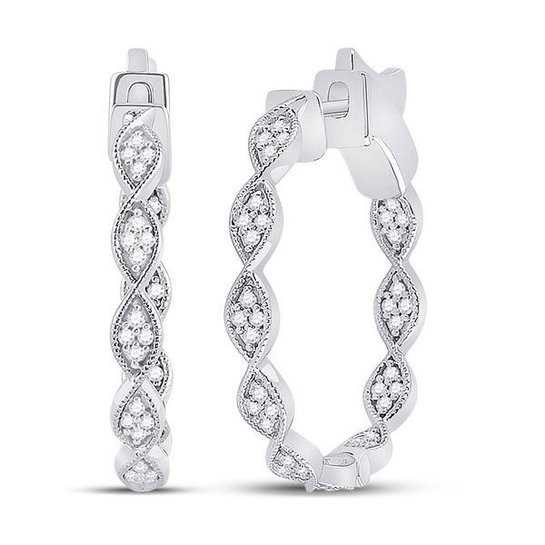 Round Diamond Fashion Hoop Earrings 5/8 Cttw 14KT White Gold